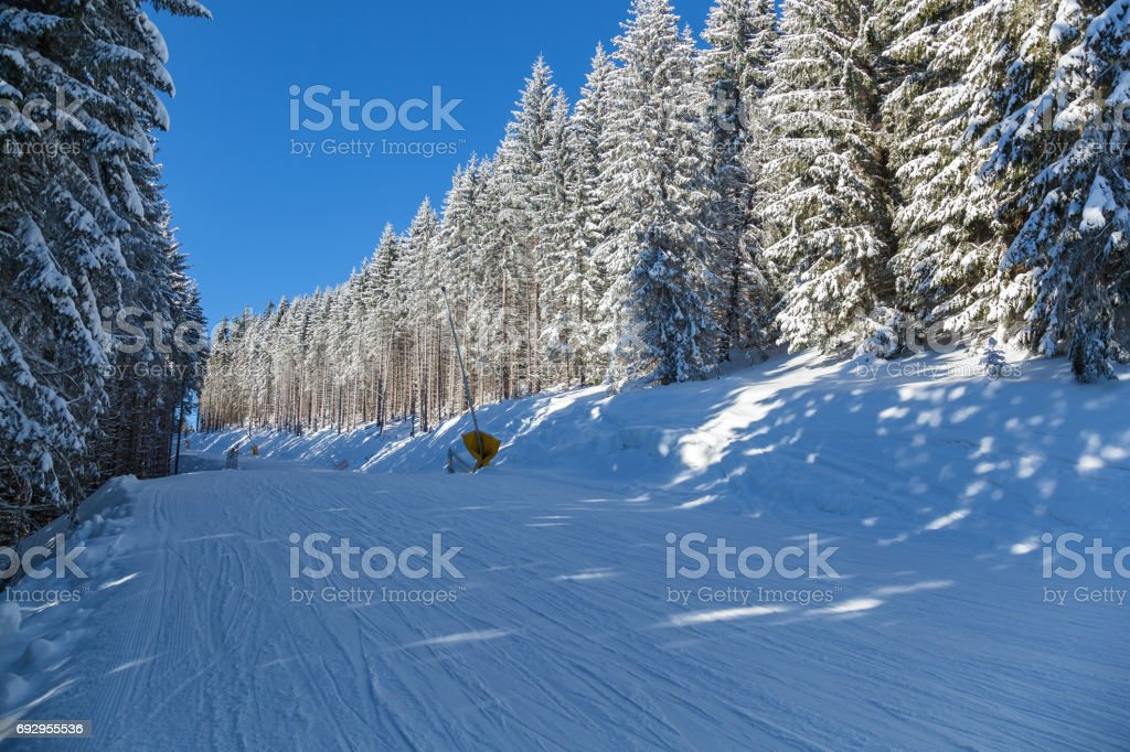 Winter landscape in mountains skiing resort of Bukovel stock photo
