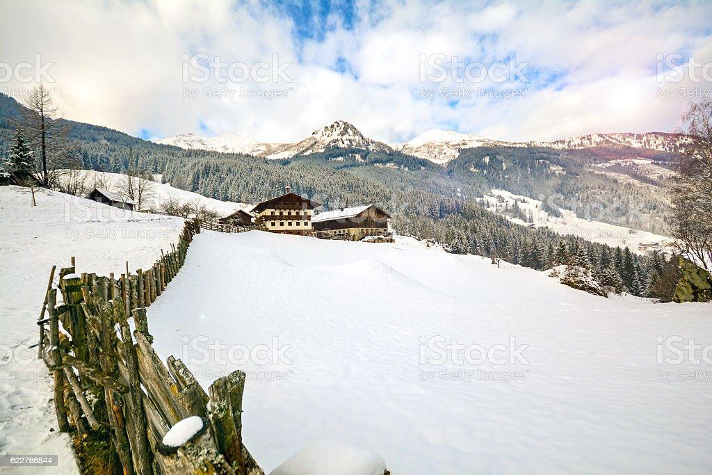 Winter landscape in the Austrian Alps in Carinthia, Austria Europe stock photo