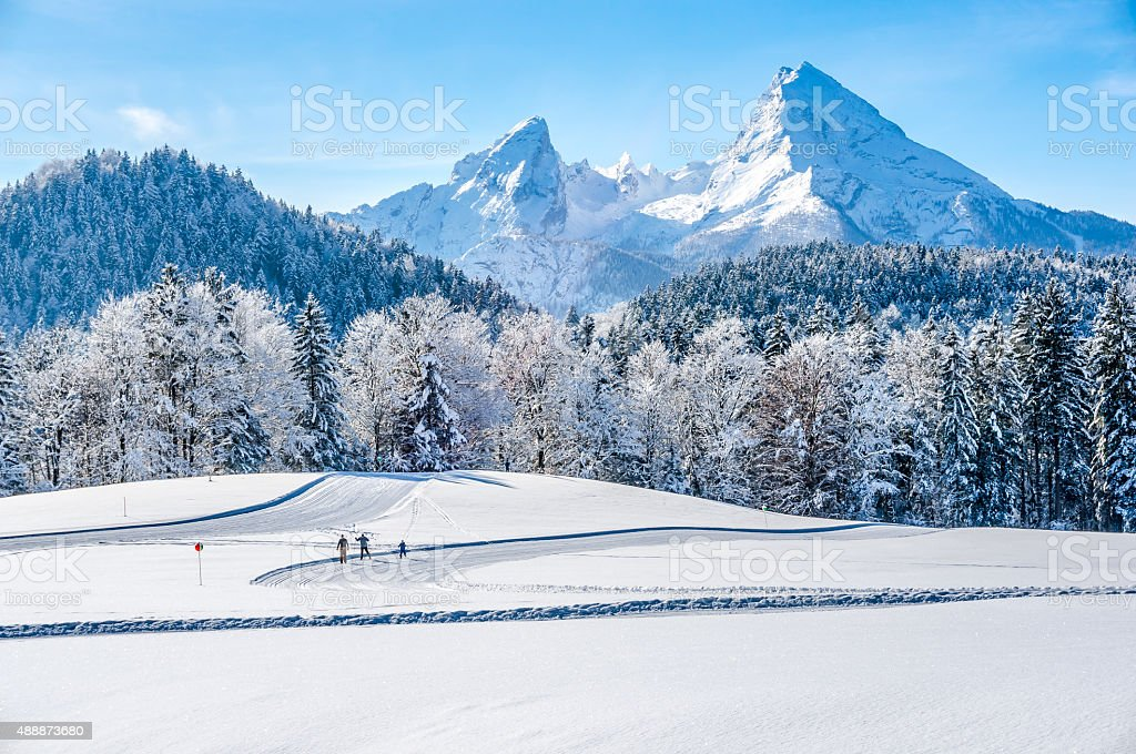Winter landscape in the Bavarian Alps with Watzmann massif, Germany stock photo