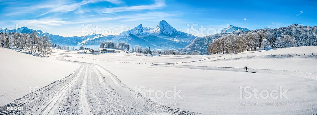 Winter landscape in the Bavarian Alps with Watzmann massif, Germany stock photo