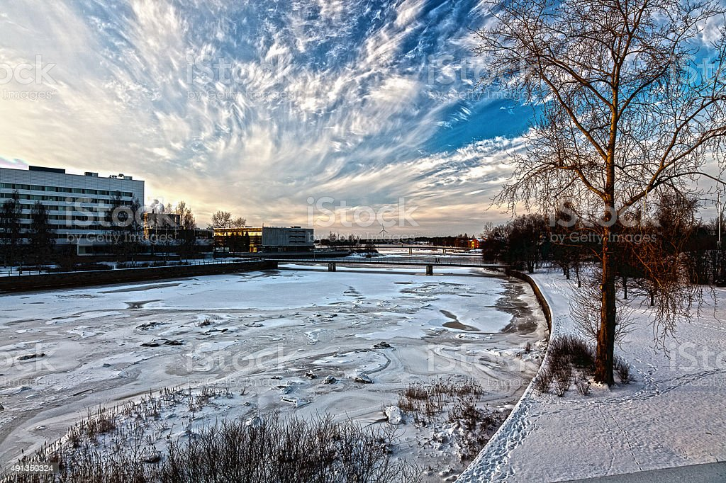 Winter landscape in the city of Oulu, Finland stock photo