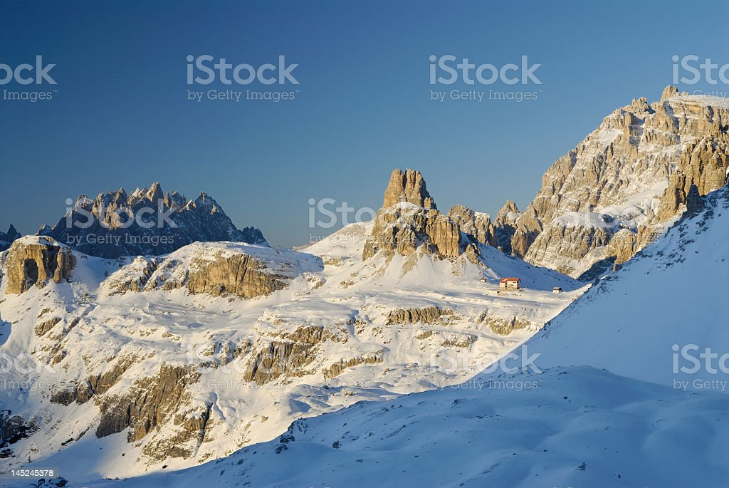 Winter Landscape in the Dolomites (Italy) stock photo
