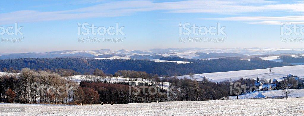 Winter landscape in the Erzgebirge, Germany stock photo