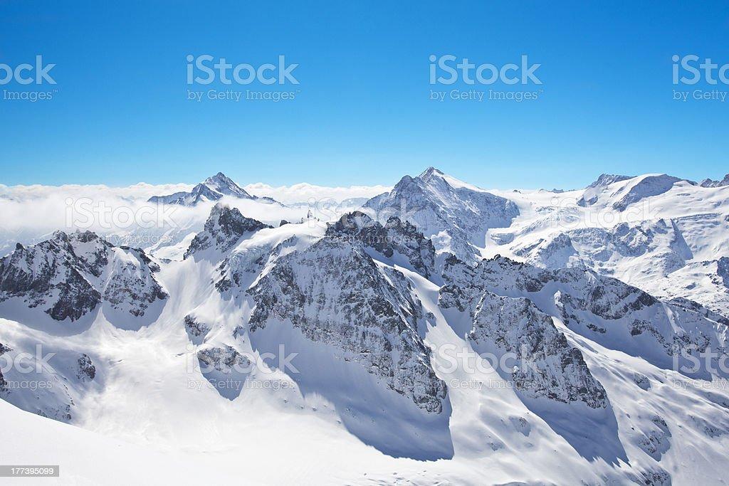 Winter landscape in the Matterhorn stock photo