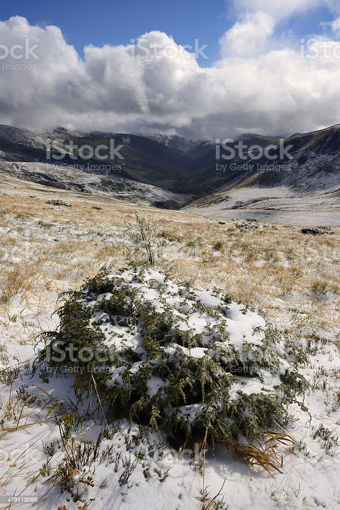 Winter landscape in the snow mountains stock photo