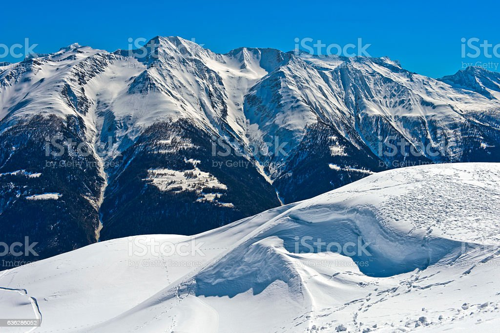Winter landscape in the Swiss Alps stock photo