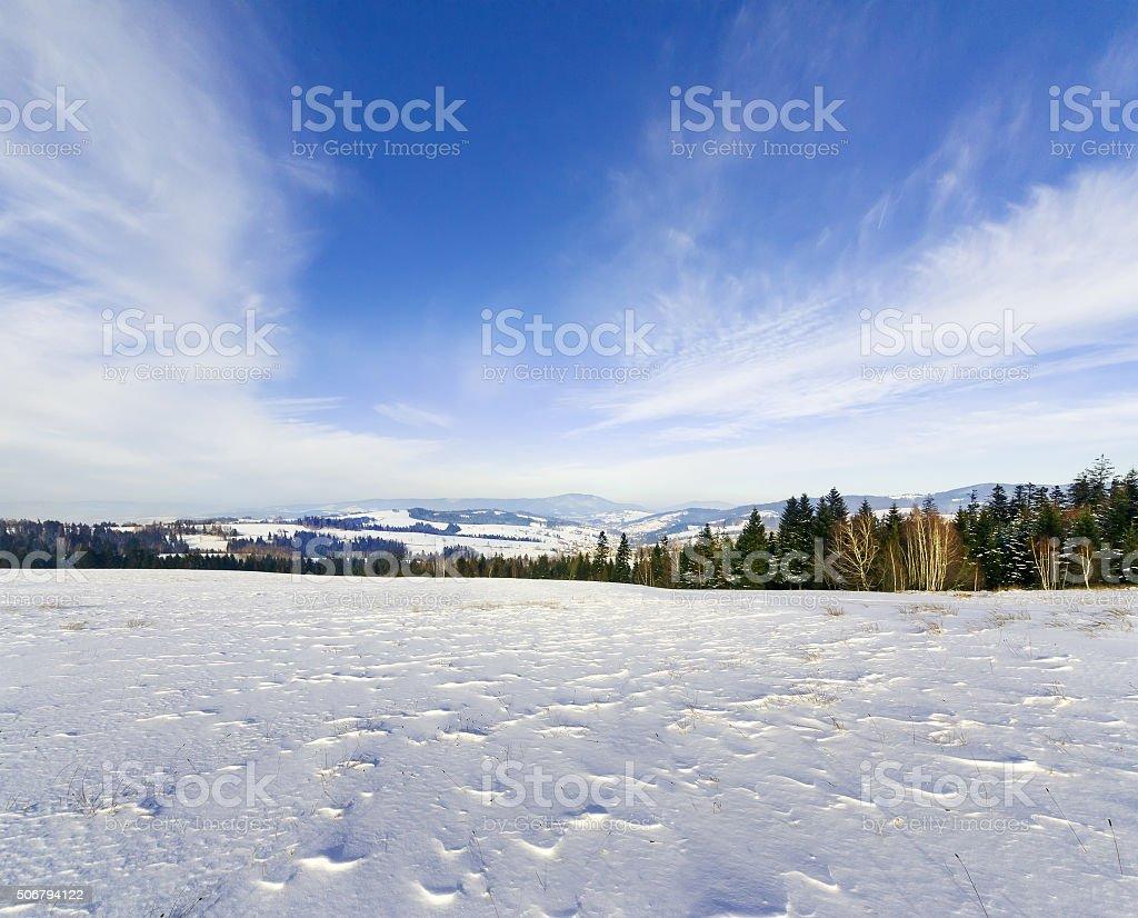 Winter landscape in the Tatras, Poland, stock photo