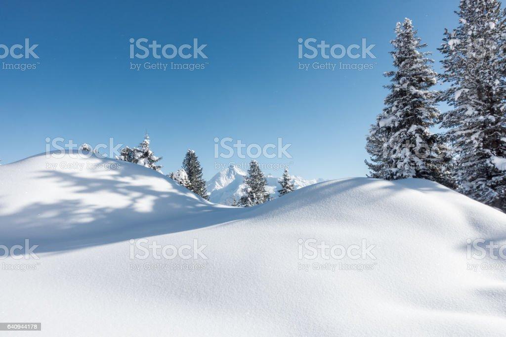 Winterlandschaft in Tirol als Hintergrundbild stock photo