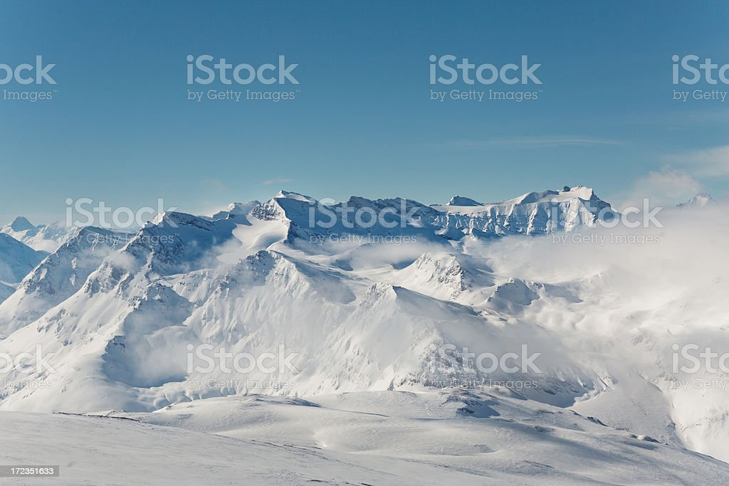 Winter landscape in Val d'Isere stock photo