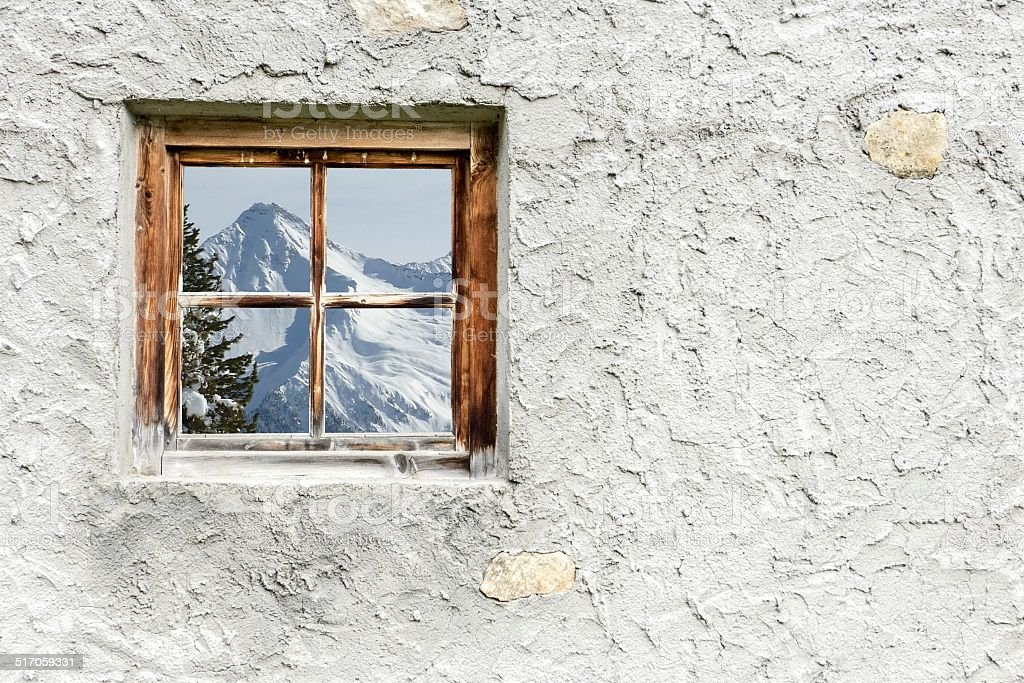 Winter landscape in Wood window stock photo