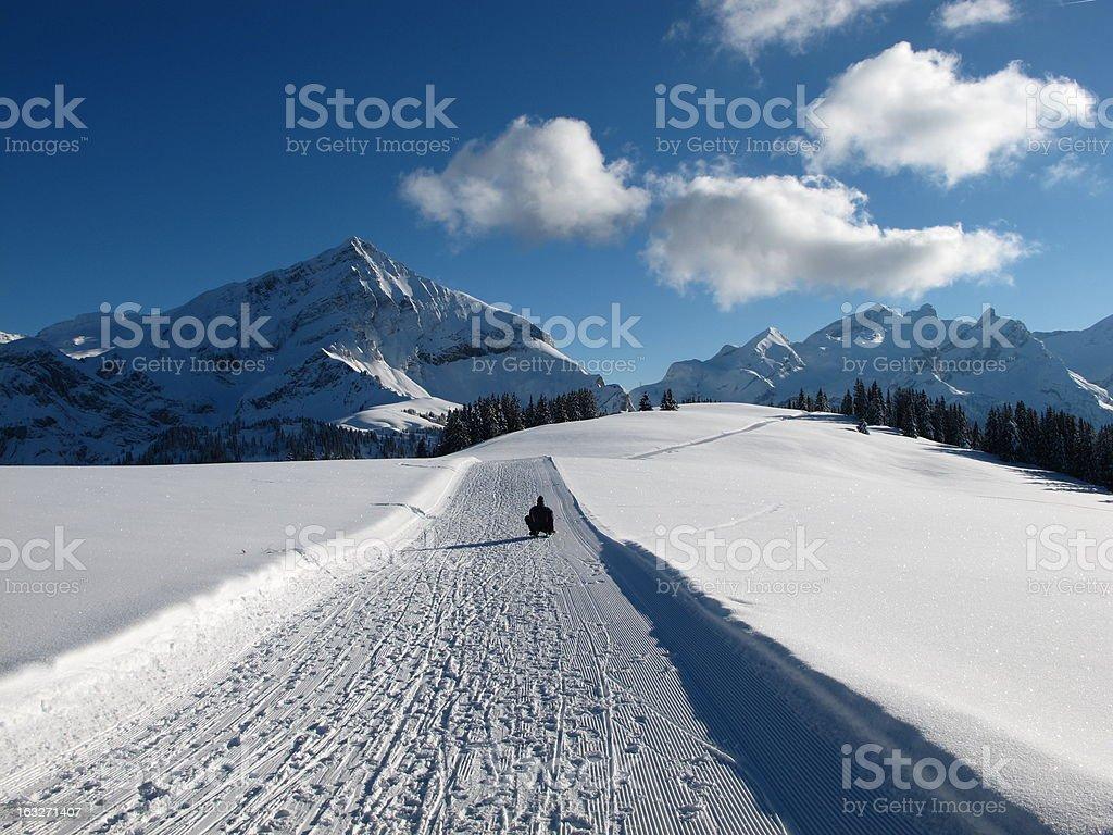 Winter landscape near Gstaad, Spitzhorn royalty-free stock photo