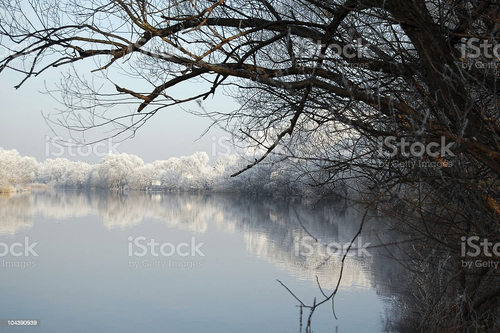 winter landscape of a river stock photo