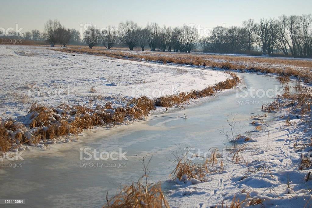 winter landscape of a river stock photo