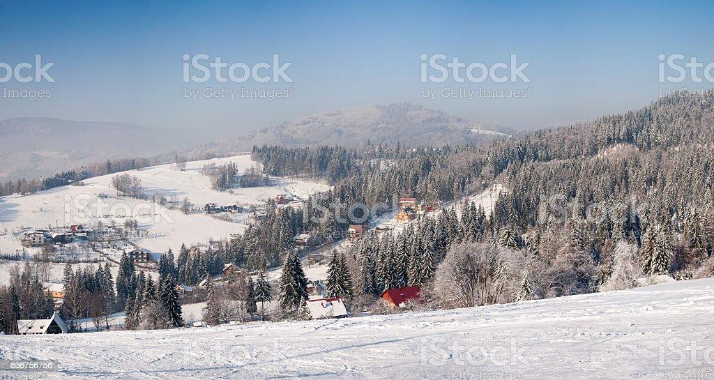 Winter landscape of Beskid Slaski stock photo
