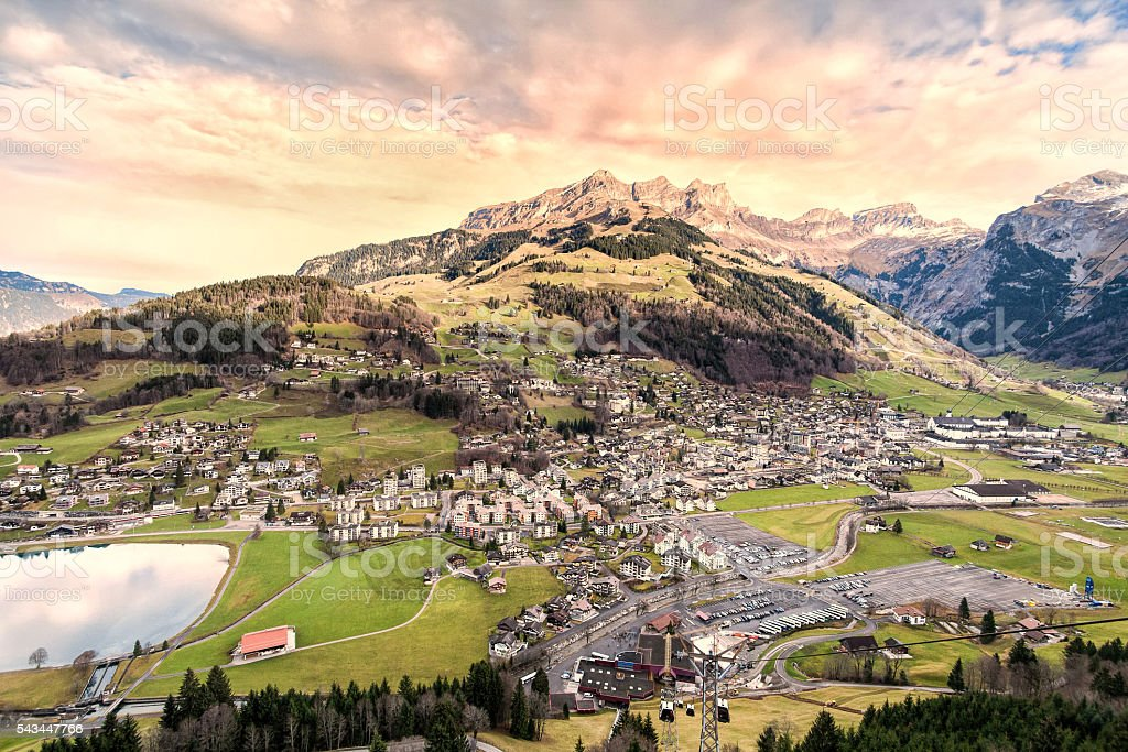 Winter landscape of Engelberg, Switzerland from Mount Titlis Switzerland stock photo