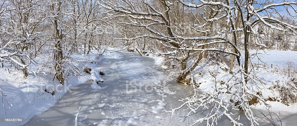 Winter Landscape of Frozen Stream and Snow Covered Trees stock photo