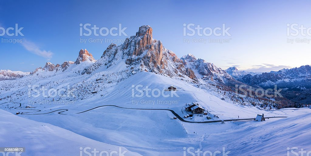 Winter landscape of Passo Giau, Dolomites, Italy stock photo