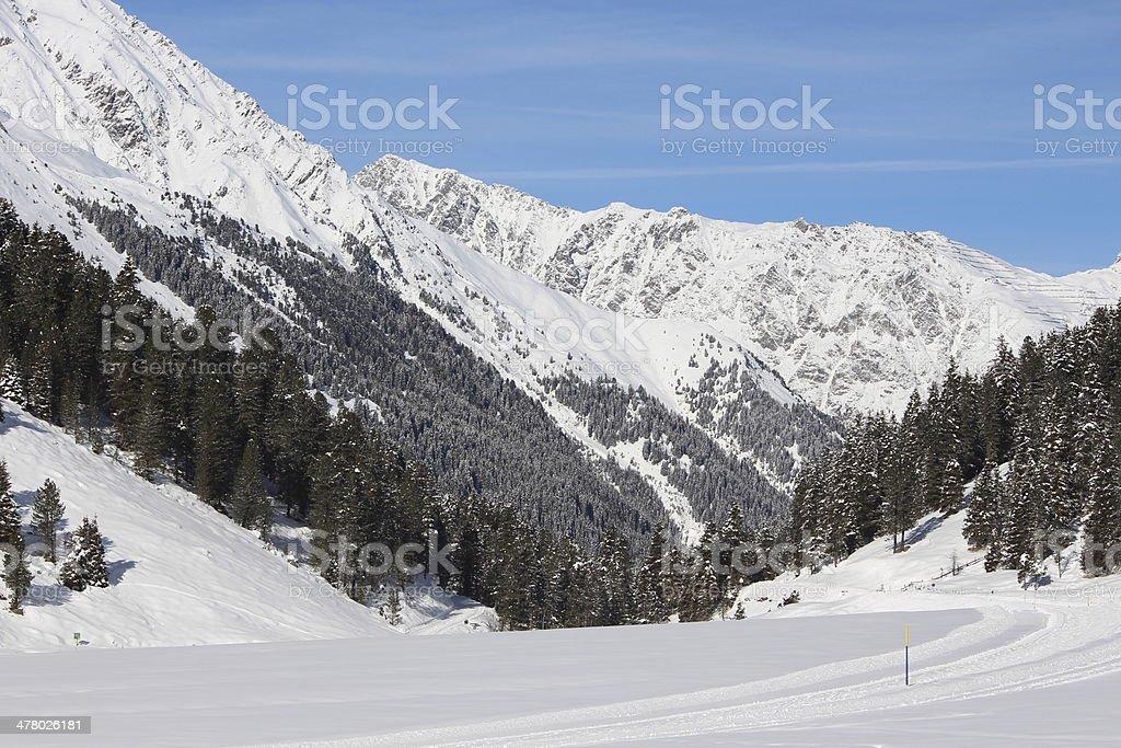 Winter Landscape of the Alpine Region L?sens, Praxmar, Sellraintal, Tyrol royalty-free stock photo