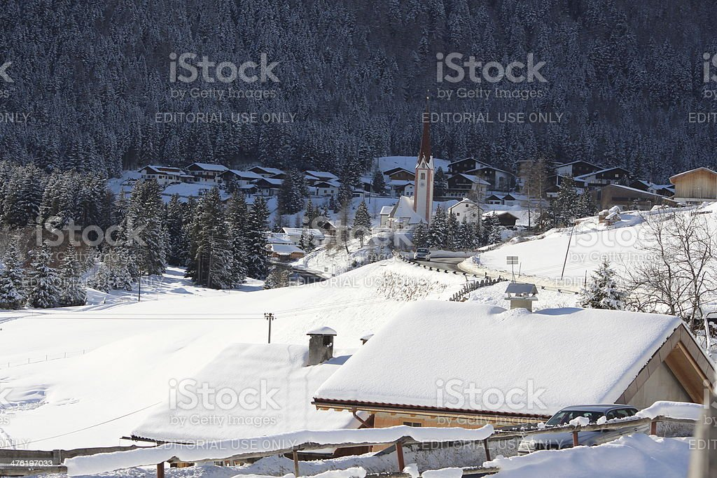 Winter Landscape of the Alpine Region St. Sigmund, Sellraintal, Tyrol royalty-free stock photo