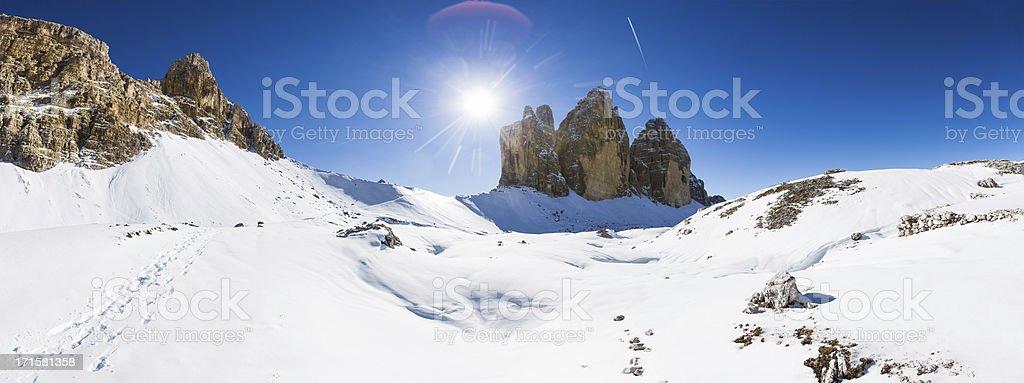 Winter Landscape of the Dolomites, Tre Cime di lavaredo, Italy stock photo