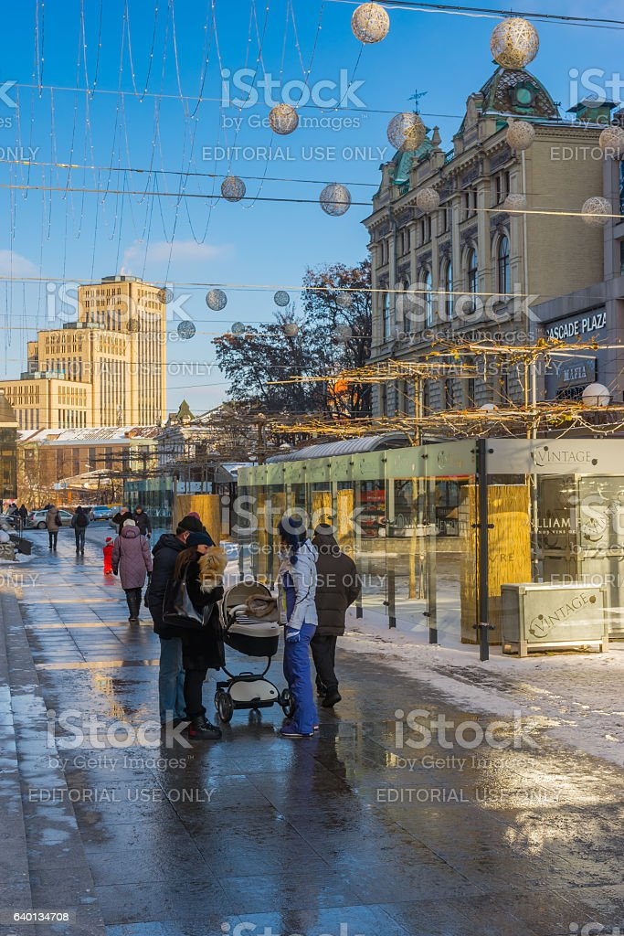 Winter landscape on European square at weekday afternoon stock photo