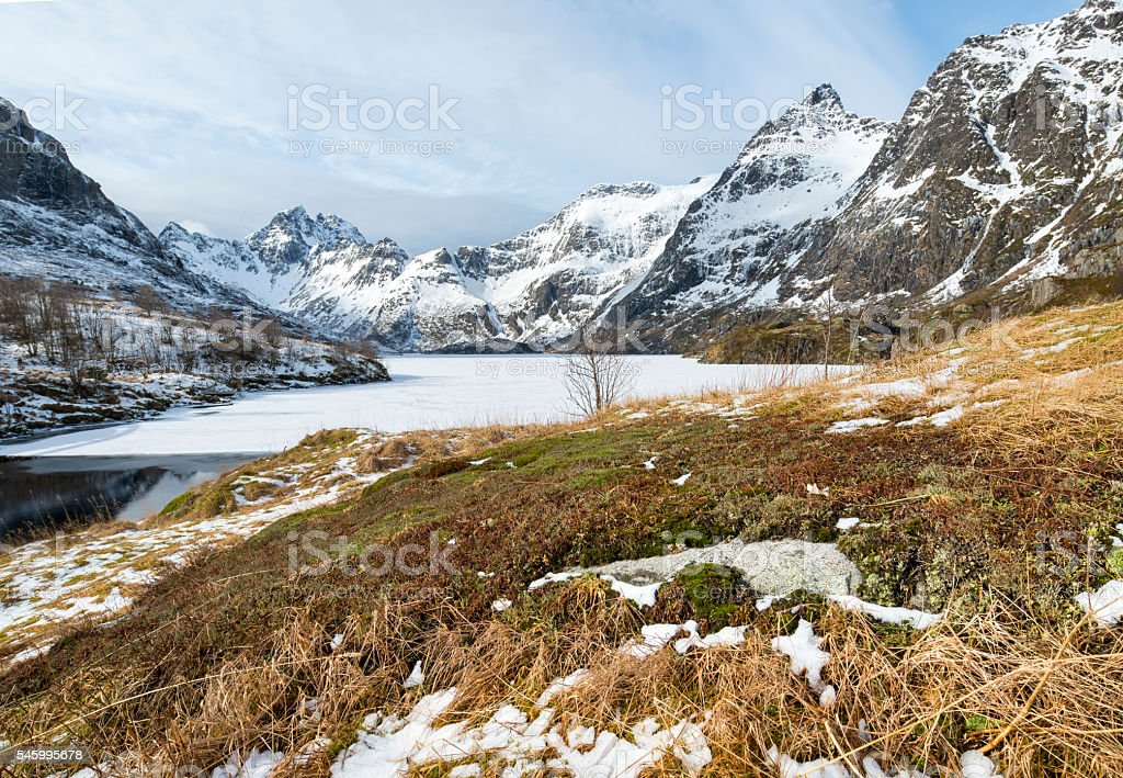 Winter landscape on Lofoten Islands, stock photo