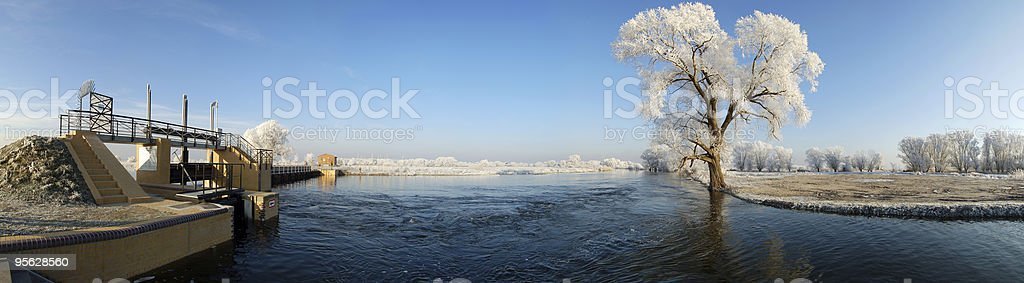 Winter landscape on river Havel with weir stock photo