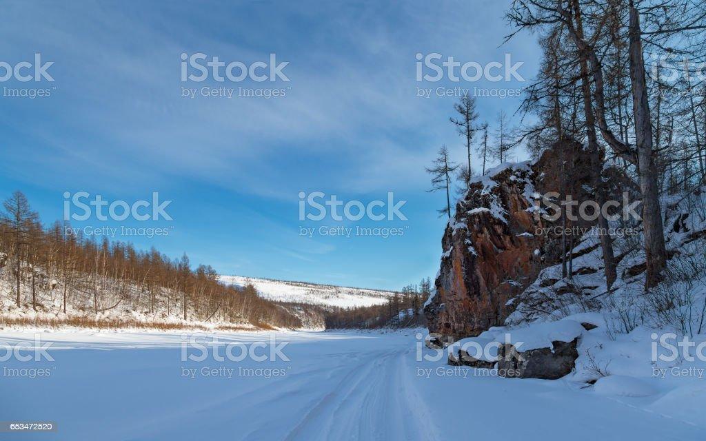 Winter landscape on the Chulman River stock photo