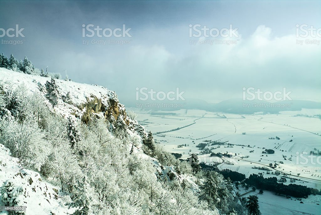 Winter landscape on the high wall in Lower Austria stock photo