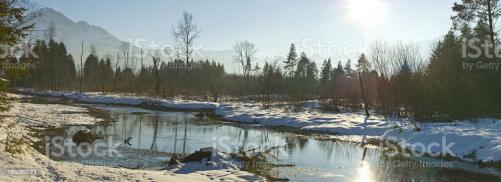 XXL Winter Landscape Panorama with lonely trees and sun royalty-free stock photo