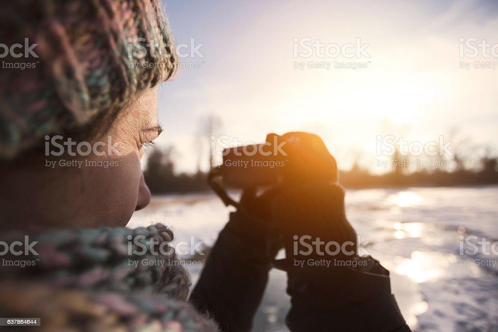 Winter landscape photography stock photo