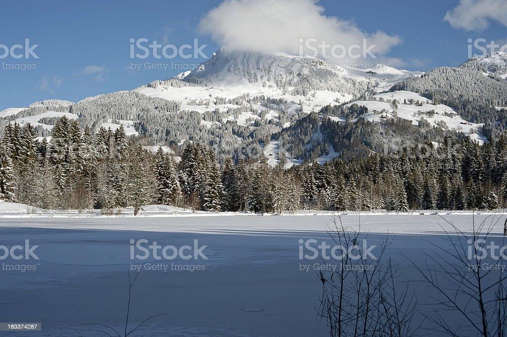 Winter Landscape Schwarzsee Kitzbühel stock photo