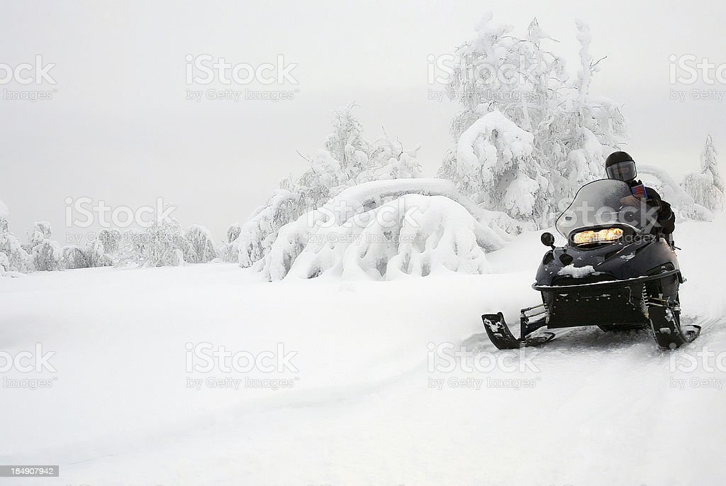 Winter Landscape Snowmobile Expedition stock photo