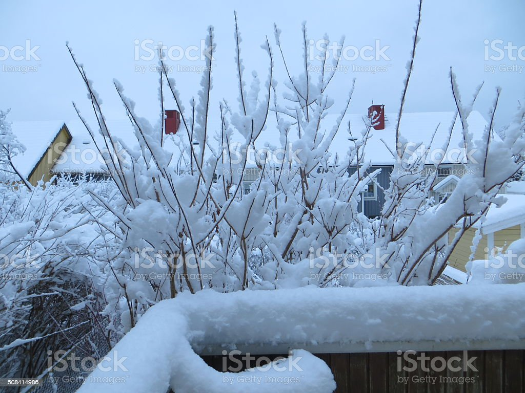Winter landscape snowy balcony stock photo