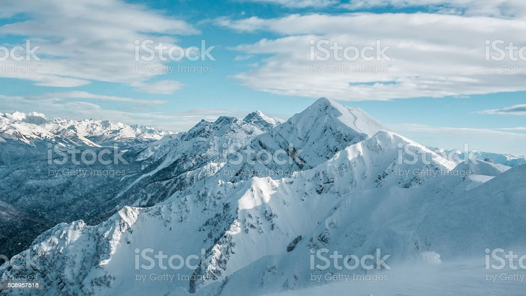 Winter landscape, top of mountains stock photo