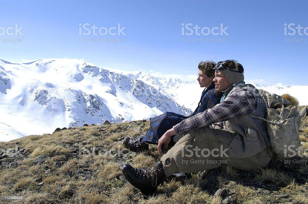 Winter Landscape whit Man & Woman royalty-free stock photo