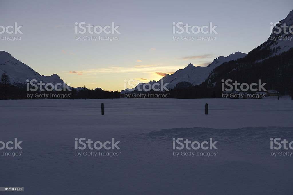 Winter landscape with a frozen lakes stock photo
