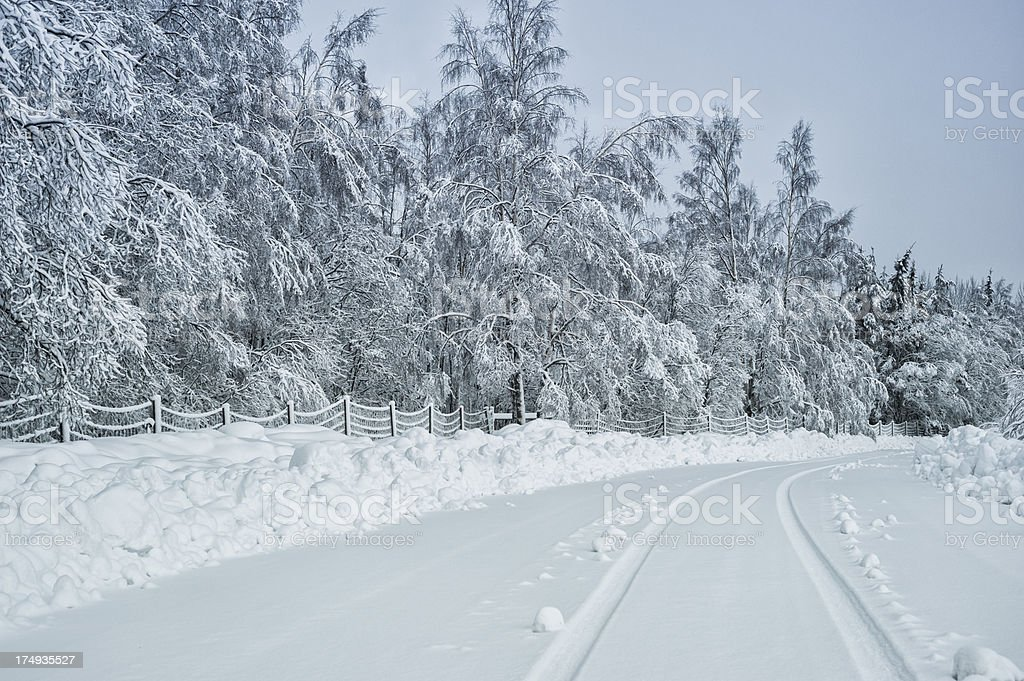 Winter landscape with a road in Sweden royalty-free stock photo