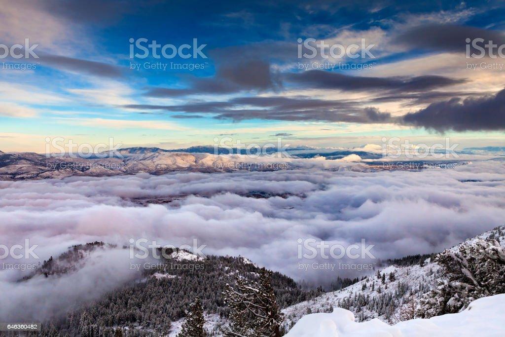 Winter landscape with cloud inversion. Reno, Nevada stock photo
