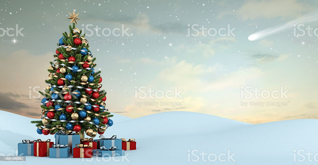 Winter landscape with colorful christmas tree stock photo