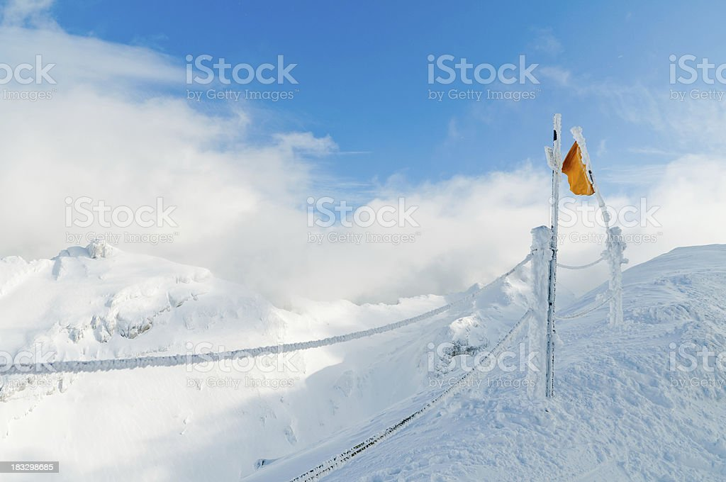 Winter Landscape with Frozen Flag stock photo
