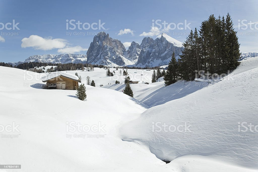 Winter landscape with Langkofel mountain in Dolomites (XXXL) royalty-free stock photo