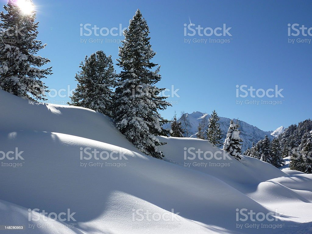 Winter Landscape with Mountains stock photo