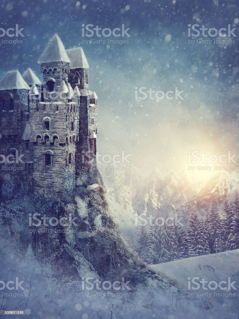 Winter landscape with old castle stock photo