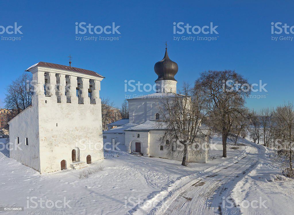 Winter landscape with old church in Pskov, Russia stock photo