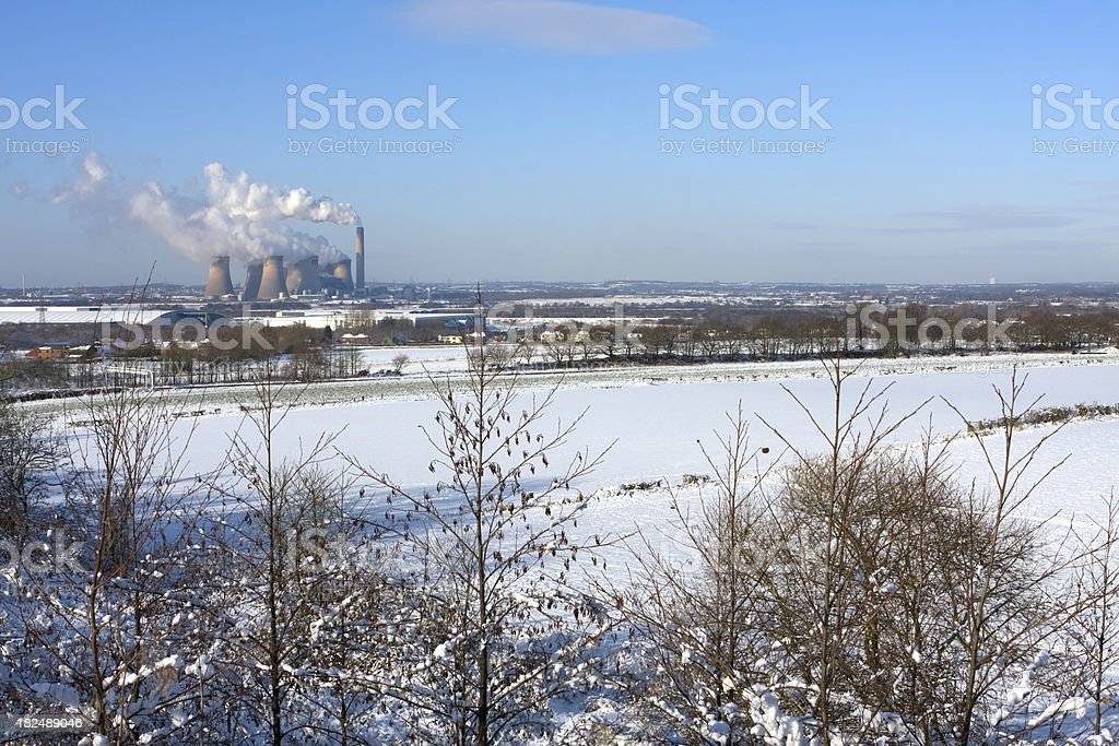 Winter landscape with Power Station stock photo