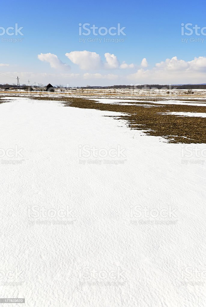 winter landscape with remnants of snow royalty-free stock photo