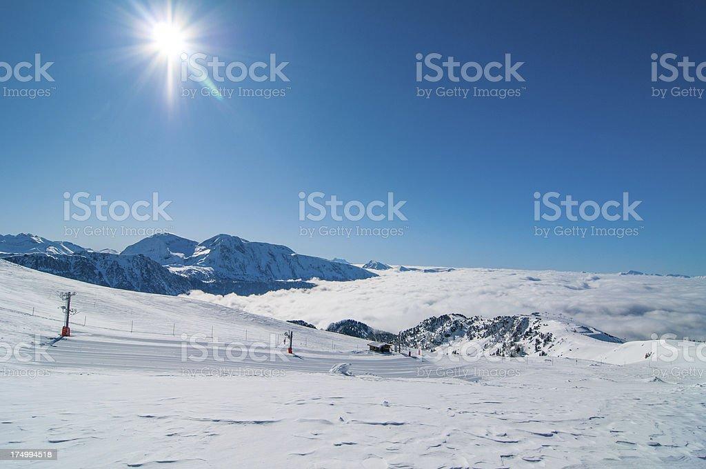 Winter Landscape with Skilift stock photo