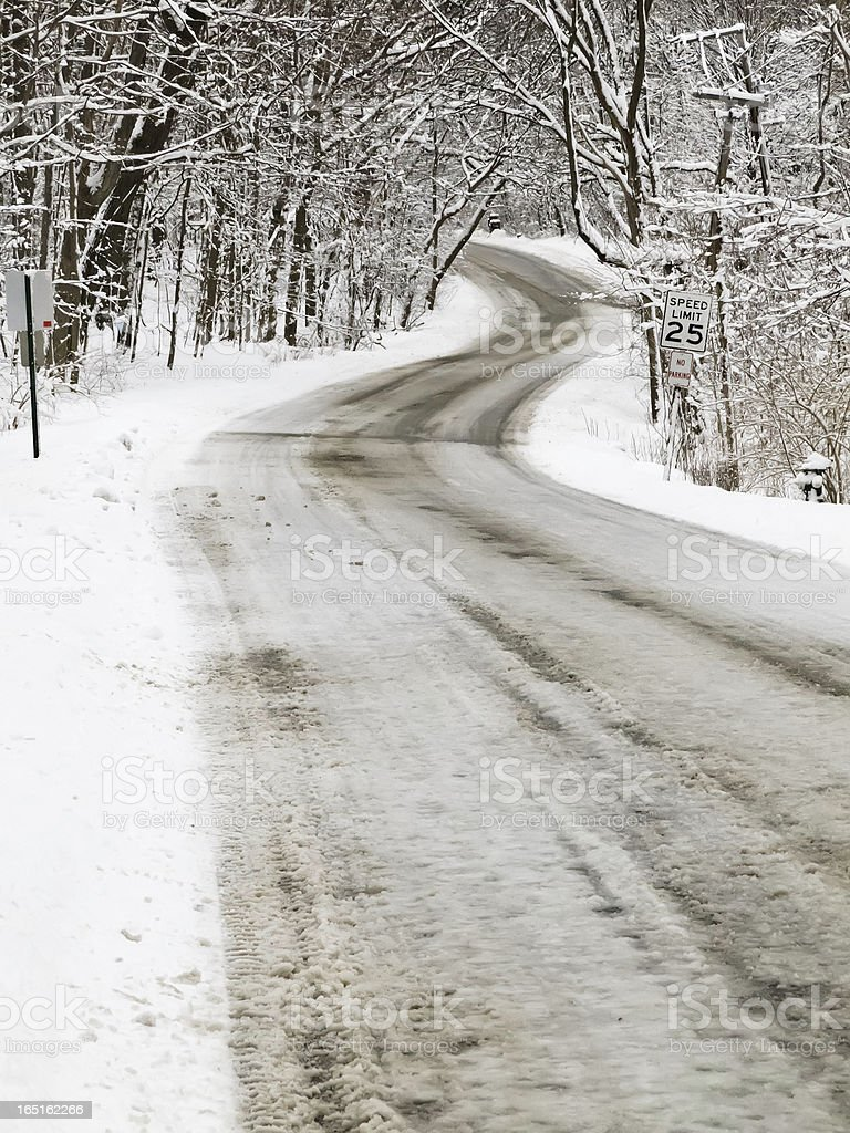 Winter landscape with travel theme stock photo