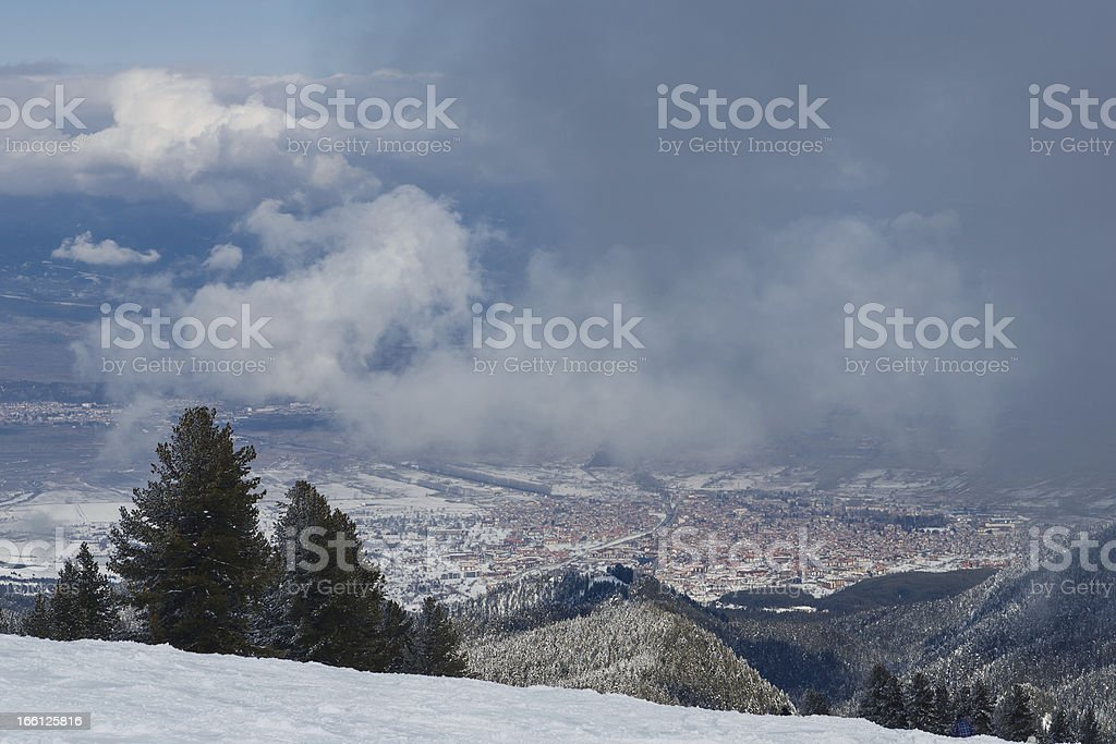 Winter landscape with vew from mountain top royalty-free stock photo